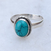 Turquoise ring, sterling silver ring,  stone ring, silver turquoise ring, 92.5 sterling silver, Silver Ring,  Christmas ring, RNSLTR3