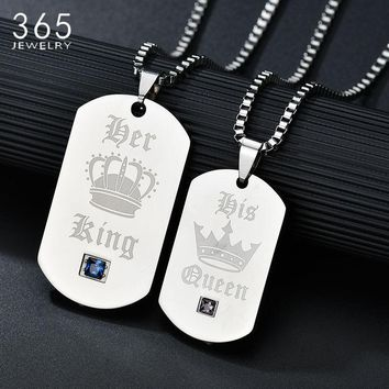 Cool Promise Jewelry Stainless Steel King And Queen Lover's Pendant Necklace CZ Stone Crown Necklace For Couple Drop ShippingAT_93_12