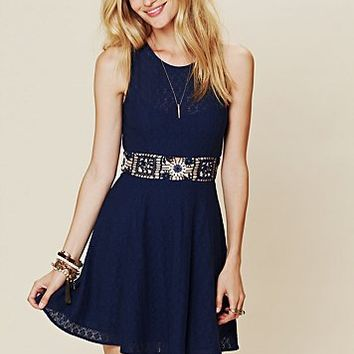 Free People Colorblock Daisy Fit and Flare Dress