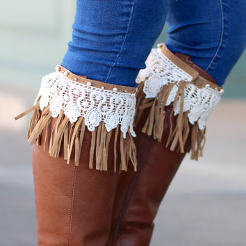 Lace + Fringe Boot Topper {Brown}