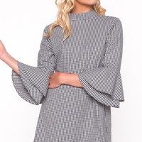 Grace in Gingham Bell Sleeve Dress by EVERLY