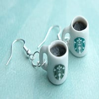 starbucks black coffee earrings