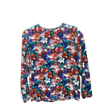 Vintage 80s Silk Floral Printed Long Sleeved Blouse Top Shirt Watercolor Abstract Patterned Pink Green Red Blouse Small Medium