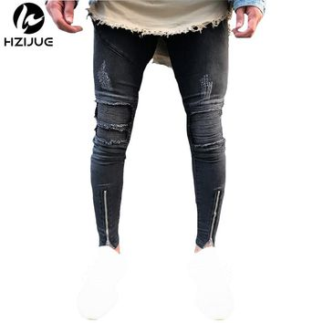 HZIJUE new arrival 2017 Mens fashion Skinny Jeans Men Slim Fit Pleated Punk Biker Ripped Denim Hip Hop Motorcycle Rock Rap Jeans