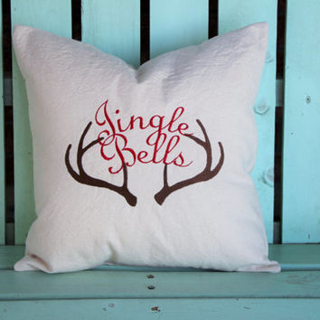 16x16  Jingle bells Antler embroidered Christmas pillow- holiday gift-decorative cover-gifts under 30-throw pillow-accent pillow