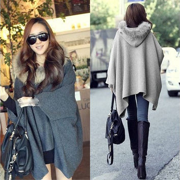 Casual Womens Cape Black Batwing Wool Poncho Jacket Lady Winter Warm Cloak Coat [9305616775]