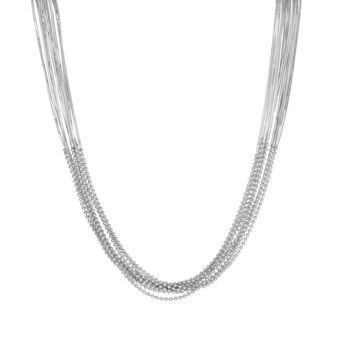 """Sterling Silver Multi Strand Bead Link Necklace, 18"""""""