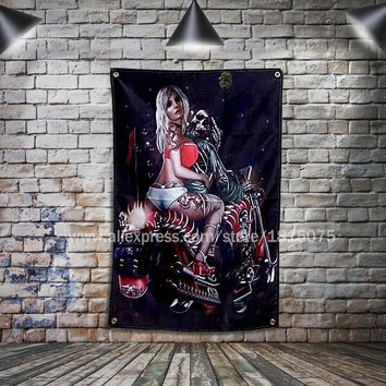 Sexy Girls Skull Motorcycle Biker Flag Banner Home Decoration Hanging flag 4 Gromments in Corners 3*5FT 144cm*96cm
