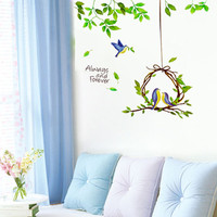 Fashion style Bird Nest & Leaves Removable comfortable&warm Wall Decals pvc