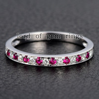 Pave Moissanite Ruby Wedding Band Half Eternity Anniversary Ring 14K White Gold  Milgrain