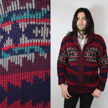 RARE - Vintage - Pendleton - Navy Blue & Burgundy Red - Southwestern - Navajo Native Style - Zip Up - Cowichan - Cardigan - Wool Sweater