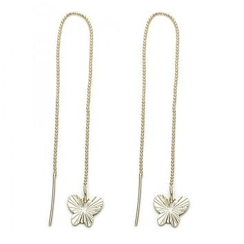 Gold Layered 5.117.010 Long Earring, Butterfly Design, Gold Tone