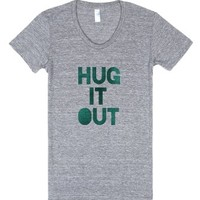 Hug It Out (Juniors)-Female Athletic Grey T-Shirt