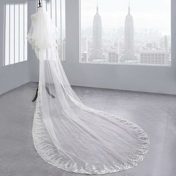 Two Layers Full Edge with Sequin Long Wedding Veil with Comb White Ivory Bridal Veil Wedding Accessories