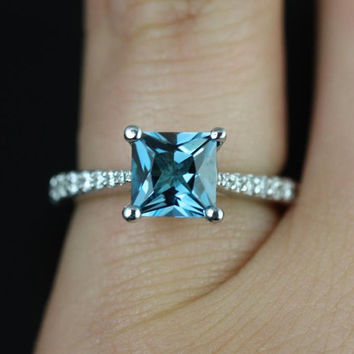 Petite Taylor 14kt White Gold Princess London Topaz and Diamonds Cathedral Engagement Ring (Other metals and stone options available)