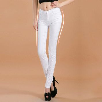 MDIGHY3 2016 new fashion boutique female Women's  candy colored jeans / Woman skinny solid color stovepipe pencil jeans