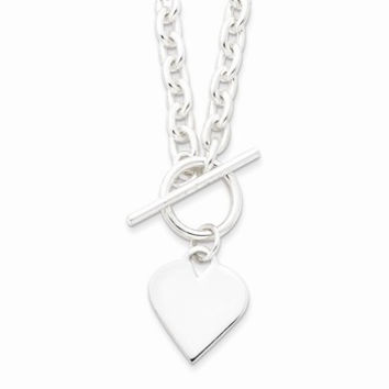 Engraveable Heart Toggle Necklace