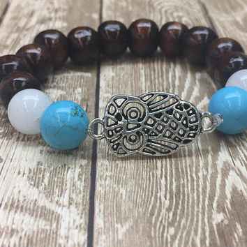 Beaded, Bracelet, Gift, Boho, Stretch, Silver, Turquoise, Gemstone, Wood, Stone, Nature, Woodland, Spiritual, Healing, Crysyal Quartz, Mala