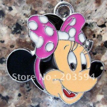s8292  20Pcs/Lots Alloy Metal Enamel Mickey Minnie mouse Charms 27*24mm
