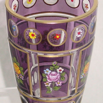 629005  Amethyst over Crystal Friendship Glass with 12 Round Cuts with Painted Flowers