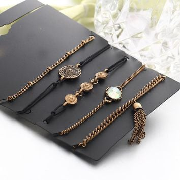 DIEZI One Set Fashion Vintage Multilayer Chain Bracelets For Women Men Gold Tassel Coin Charm Bracelet & Bangles Jewelry