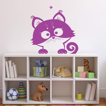 Wall Sticker Nursery Kids Room Vinyl Decal Funny Cheerful Cute Kitten Unique Gift n417