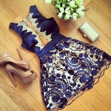 Fashion Lace Printing sleeveless dress