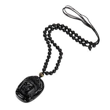 Buddha Pendant Natural Obsidian Black Carved Necklace