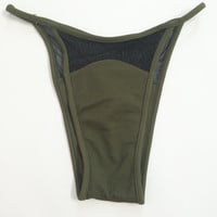90s Cheeky MESH Cutout Bikini Bottoms XS Small Olive Green Black Mesh High Cut Brazilian Bikini Bottom High Waist Textured Skimpy Bikini