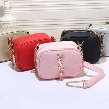 YSL fashion casual women makeup bag hot sell leather solid color shopping bag