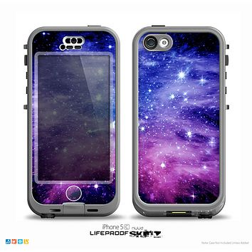 The Purple and Blue Scattered Stars Skin for the iPhone 5c nüüd LifeProof Case