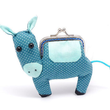 Little elm green donkey clutch purse by misala on Etsy