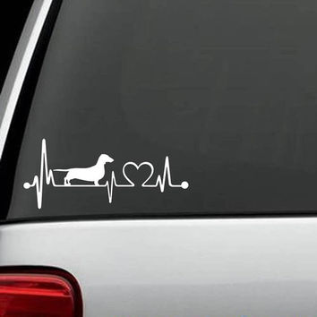 Dachshund Heartbeat Dog Decal Sticker