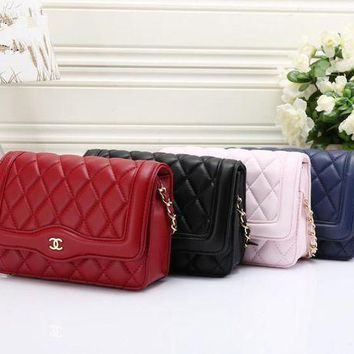 LMFON Chanel' Women Temperament Simple Fashion Quilted Metal Chain Single Shoulder Messenger Bag Small Square Bag