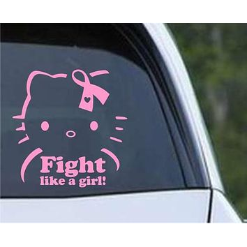 Hello Kitty Breast Cancer Fight Like a Girl Die Cut Vinyl Decal Sticker