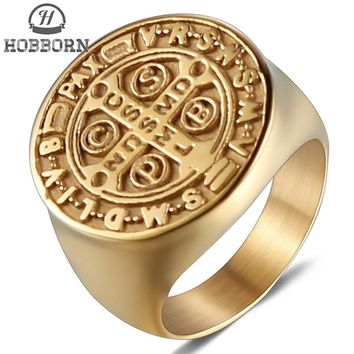HOBBORN Trendy Saint Benedict Medal Rings Women Men Titanium Steel Never Fade Catholic Church Cross Ring Wedding Finger Jewelry