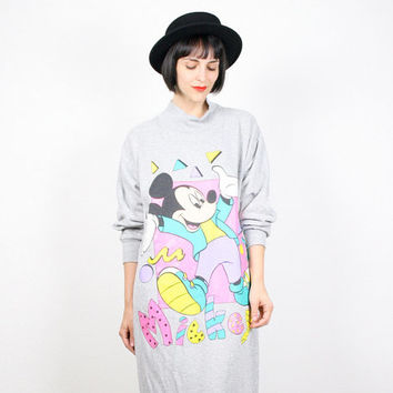 Vintage Mickey Mouse Dress New Wave 1980s Dress Mickey Mouse T Shirt Dress Mickey Mouse Sweater Mickey Mouse Sweatshirt Gray Pastel L Large