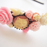 glamasaurus ♥Kawaii Cute Sweet Jewelry + Accessories ♥ — Pink Persian Cat Cameo Cluster Headband