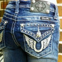 Miss Me Girls Blue Jeans Size 14 Wings ~ Horse Shoe  ~ Bling ~ Boot Cut