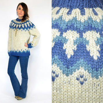 vintage 1960s scandinavian FAIR ISLE chunky 100% pure new wool boho folk SWEATER jumper, extra small-medium