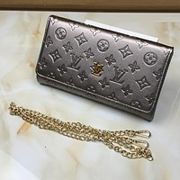 Louis Vuitton Women Leather Chain Satchel Shoulder Bag Crossbody