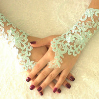 Mint Green Wedding Gloves Lace Gloves free ship, Rose goth gothic, unique gloves