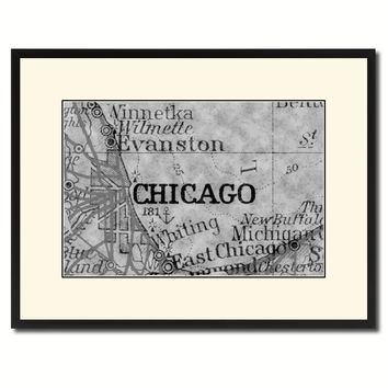 Chicago Illinois Vintage B&W Map Canvas Print, Picture Frame Home Decor Wall Art Gift Ideas
