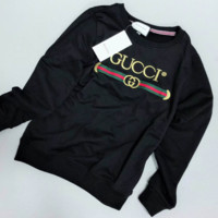 GUCCI 2018 autumn and winter new men and women tide brand wild round neck long-sleeved sweater black