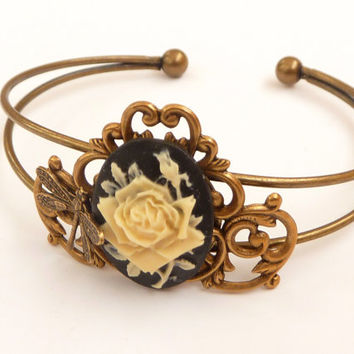 Noble bracelet in vintage style with roses cameo and beautiful ornaments, antique bracelets, bangle rose, dragonfly, gift for her, bronze