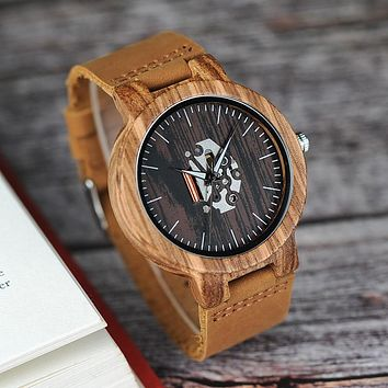 BOBO BIRD Wood Mens Watch Zebra Pattern with Genuine Cowhide Leather Band