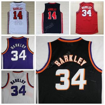 Free Shipping 34 Charles Barkley Jersey Throwback Basketball Jerseys Barkley Uniforms 1992 USA Dream Team Vintage Sport Purple Black White