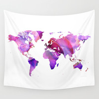 World Map 20 Pink and Purple by Sharon Cummings Wall Tapestry by Sharon Cummings