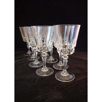 Wine Glasses With Faceted Button Stems  S/9