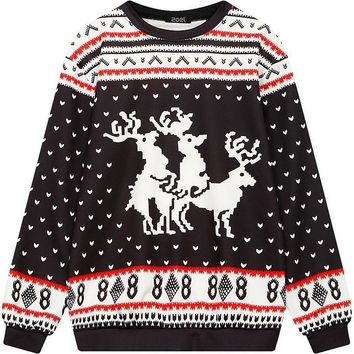 Ugly Christmas Sweater Women's Men's Reindeer Snowflakes Pullover Sweatshirt